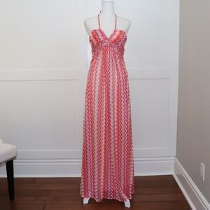 SKY Brand Orange Pink Chevron Knit Maxi Dress